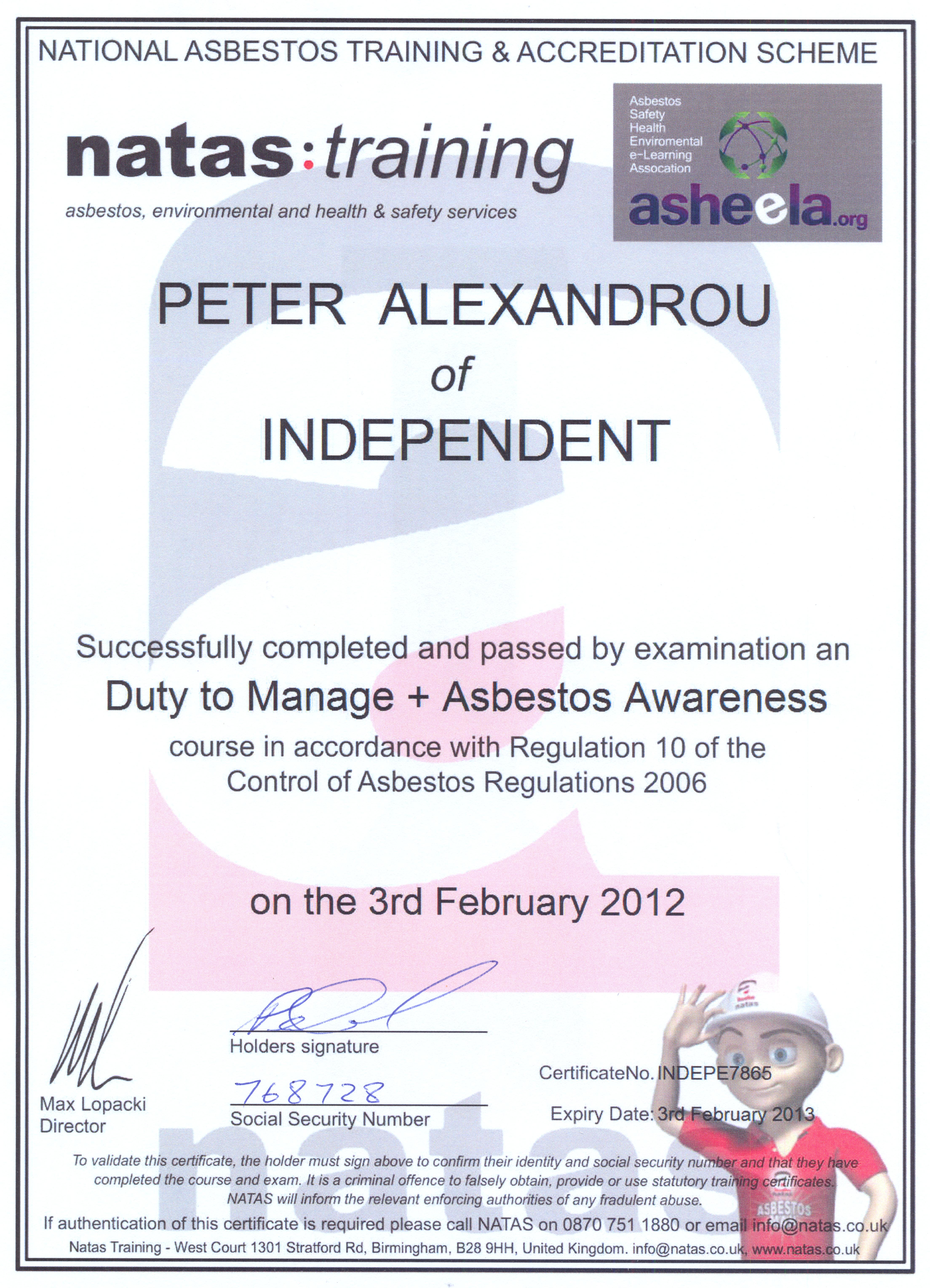 Peter asbestos awareness and duty to manage health safety certification 1betcityfo Gallery